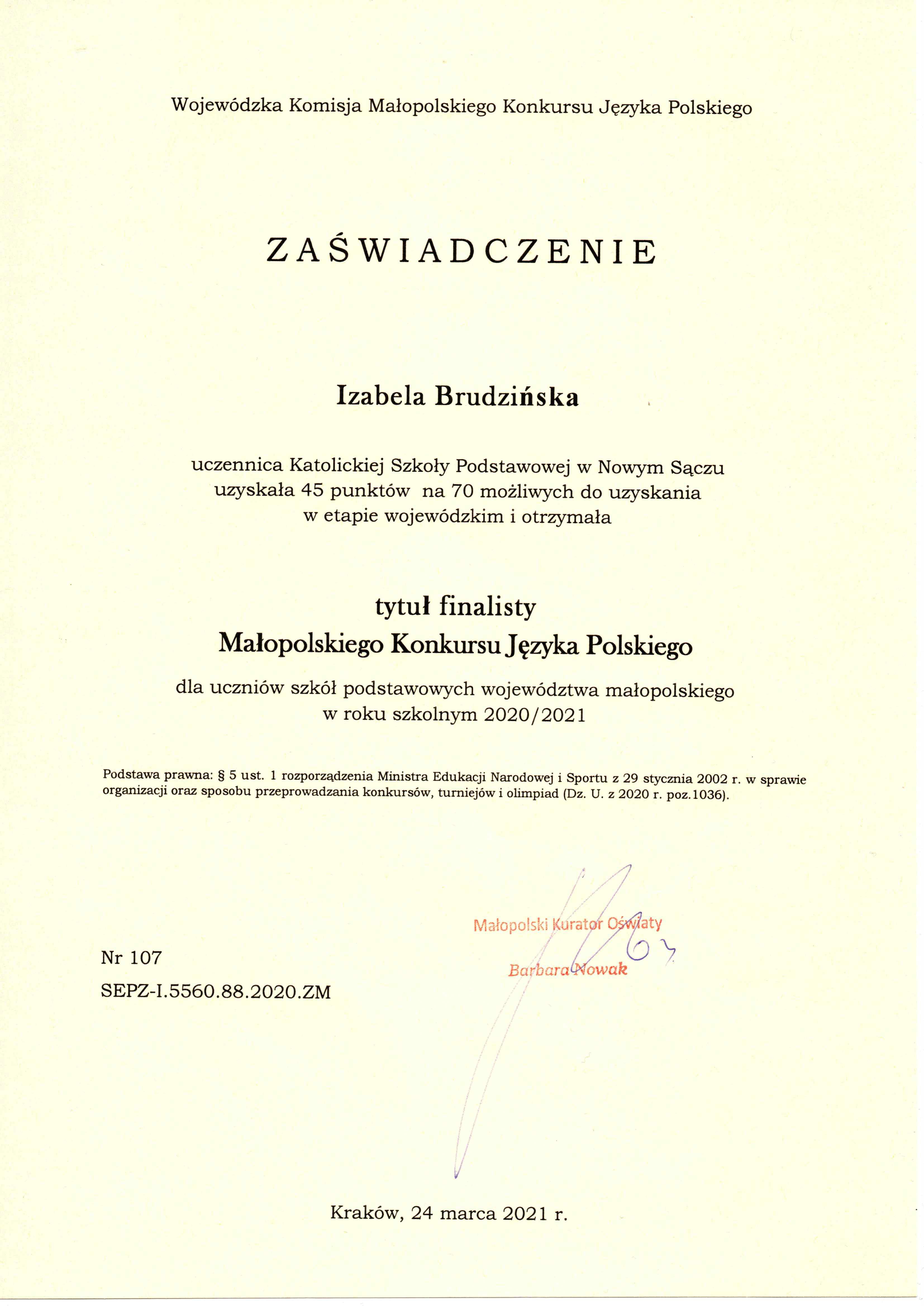 Finalistka Małopolskiego Konkursu Języka Polskiego
